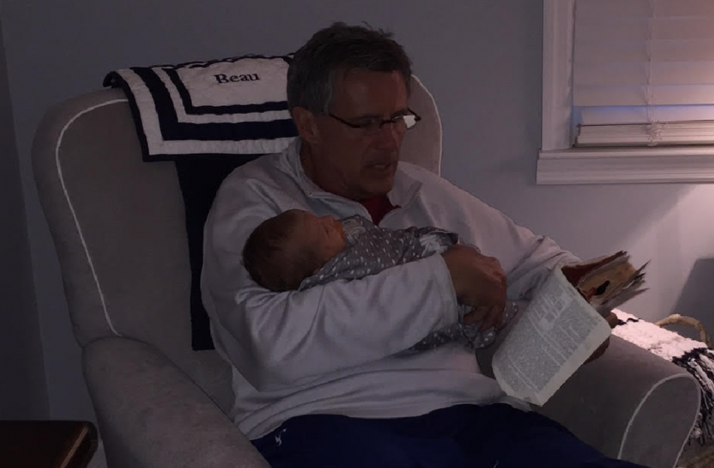 Beau Time! My first official act as a grandfather was to read three passages of scripture to Beau, just him and me and my mother's Bible. Genesis Chapters 1-3, Psalm 139 and  Joshua 1.