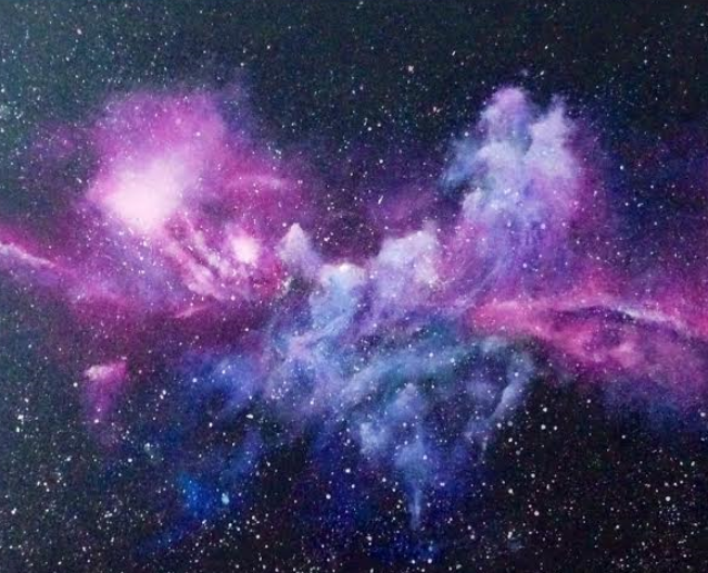 "Lift up your eyes and look to the heavens: Who created all these? He who brings out the starry host one by one and calls forth each of them by name. Because of his great power and mighty strength, not one of them is missing. Isaiah 40:26 Painting entitled ""Galaxies"" From Brooke Barrett"